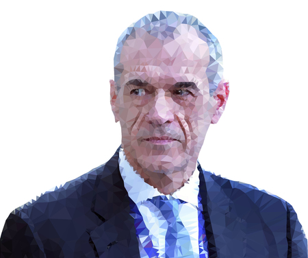 ROME, ITALY, MAY 2018: Carlo Cottarelli, new italian President of the government, vector illustration, polygonal graphic elaboration, editorial Archivio Fotografico - 102659268