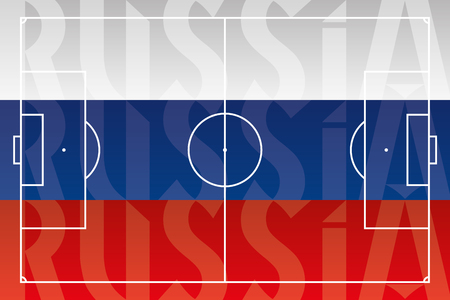Russia soccer, flag and football field illustration Archivio Fotografico - 102657973