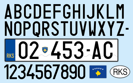 Kosovo car license plate, letters, numbers and symbols