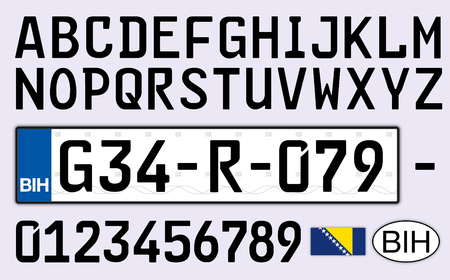 Bosnia And Herzegovina Car License Plate Letters Numbers And