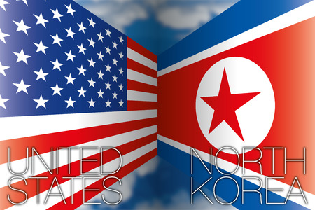 United States vs North Korea flags Archivio Fotografico - 103375256