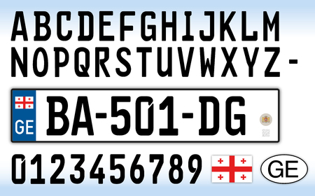 Georgia car license plate, letters, numbers and symbols Archivio Fotografico - 103375400