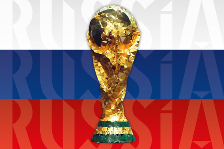 MOSCOW, RUSSIA, june-july 2018 - Russia 2018 World Cup and Russian Flag Archivio Fotografico - 103346090
