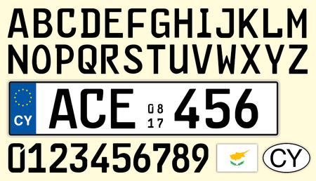 Cyprus car license plate, letters, numbers and symbols Archivio Fotografico - 103346091