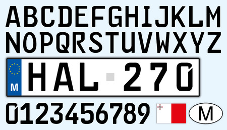 Malta car license plate, letters, numbers and symbols Archivio Fotografico - 103346092