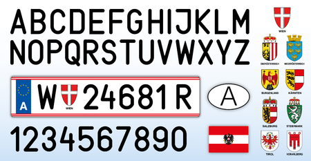Austria car license plate, letters, numbers and symbols Archivio Fotografico - 103346093