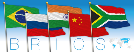 BRICS coutries flags and map, vector illustration