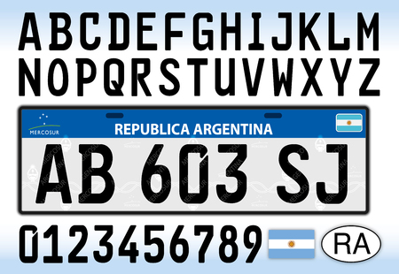 Argentina Car License Plate Letters Numbers And Symbols Royalty