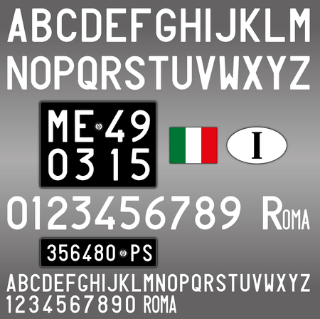 Italy old car license plate, letters, numbers and symbols Archivio Fotografico - 103375425