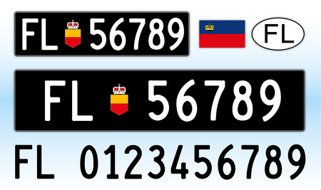 Liechtenstein car license plate, letters, numbers and symbols Archivio Fotografico - 103375429
