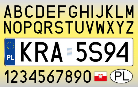 Poland, car license plate, letters, numbers and symbols Illustration