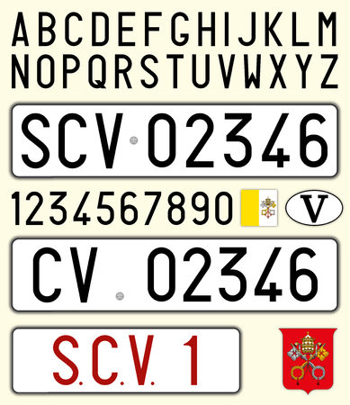 Vatican City, Holy See car license plate, letters, numbers and symbols Stock Illustratie