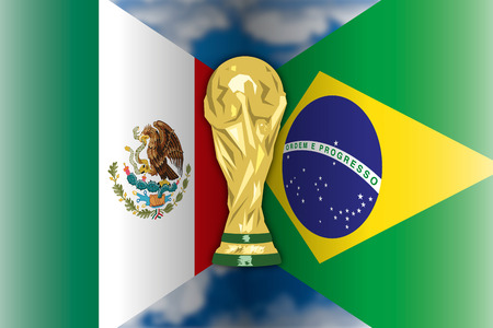 MOSCOW, RUSSIA, june-july 2018 - Russia 2018 World Cup, Mexico VS Brazil flags, eight of final Archivio Fotografico - 103975053