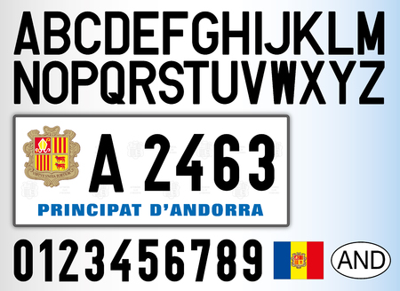Andorra old car license plate, letters, numbers and symbols Stock Illustratie