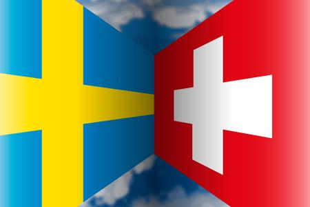 Sweden VS Switzerland flags Archivio Fotografico - 103996230