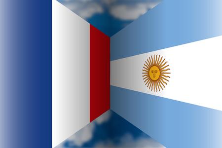 France VS Argentina flags Archivio Fotografico - 103996229