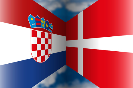 Croatia VS Denmark flags Archivio Fotografico - 103996232