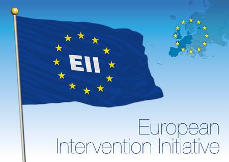 European Intervention Initiative, flag, map and symbols, Europe, vector illustration Archivio Fotografico - 103996234