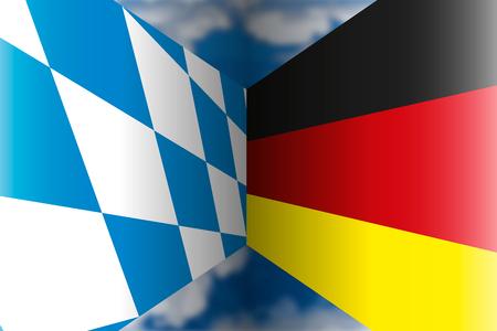 Bayern VS Germany flags, illustration Illustration