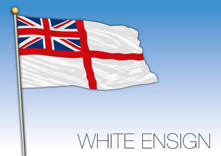 White ensign flag, United Kingdom, vector illustration