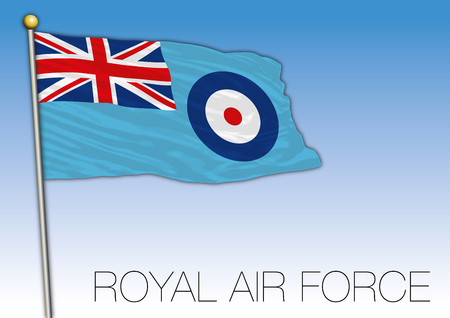 Royal Air Force flag ensign, United Kingdom, vector illustration
