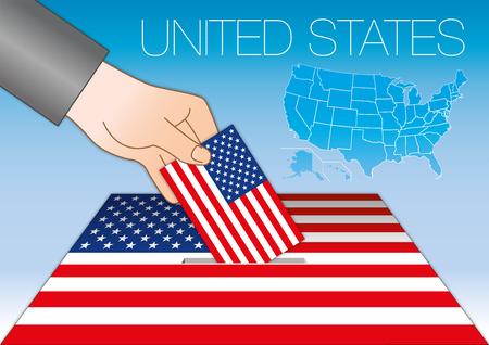 Estados Unidos de América, elecciones, urnas con bandera y mapa, EE. Ilustración de vector