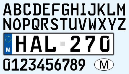 Design, lettere, numeri e simboli della targa dell'auto di Malta