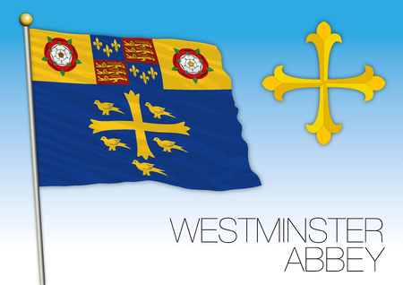 Westminster abbey flag, United Kingdom, vector illustration Illustration