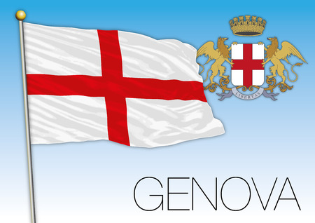 Genoa city flag and coat of arms, Italy, vector illustration 일러스트