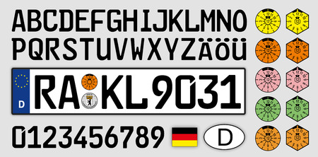Germany car license plate, letters, numbers and symbols Vectores