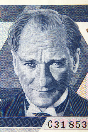Turkish founder Ataturk portrait on the lira banknote, Turkey Stock Photo