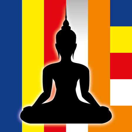 Buddah symbol silhouette and buddhist flag