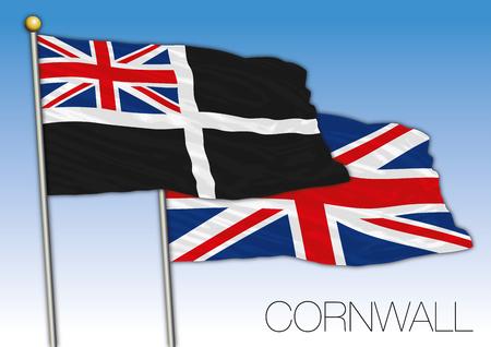 Cornwall flag, United Kingdom, vector illustration
