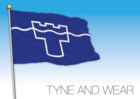 Tyne and Wear flag, United Kingdom, vector illustration