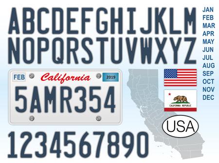 Plaque d'immatriculation de voiture de Californie, lettres, chiffres et symboles, États-Unis