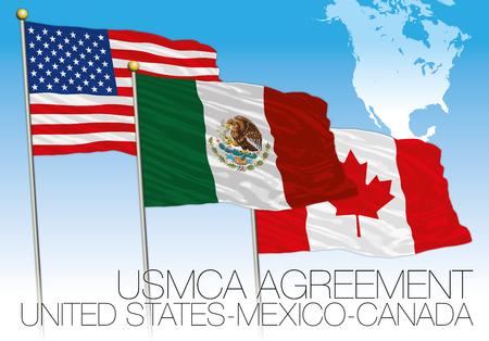 Drapeaux de l'accord USMCA 2018, États-Unis, Mexique, Canada, illustration vectorielle avec carte