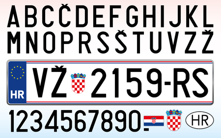 Croatia car license plate, letters, numbers and symbols Illustration