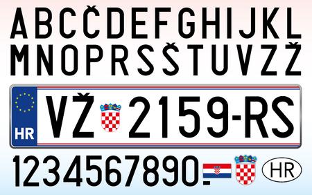 Kroatien Autokennzeichen, Buchstaben, Zahlen und Symbole Vektorgrafik