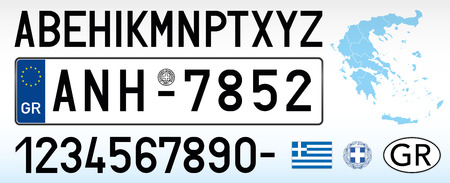 Greece car license plate, letters, numbers and symbols