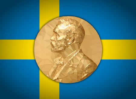 Gold Medal Nobel prize, graphics elaboration to polygons with Swedish flag Stock fotó - 109650514