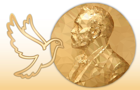 Premio Nobel de la paz, medalla poligonal de oro y símbolo donde Foto de archivo - 109650515