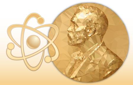 Premio Nobel de Física, medalla poligonal de oro y símbolo de estructura atómica Ilustración de vector