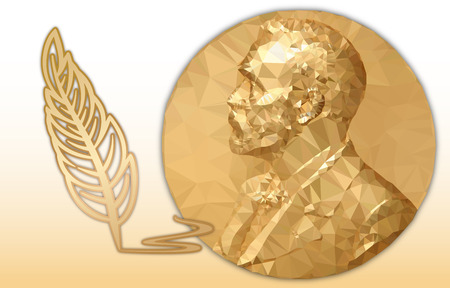 Nobel Literature award, gold polygonal medal and pencil symbol