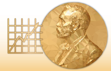 Nobel Economy award, gold polygonal medal and graphic symbol