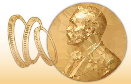 Nobel Economy award, gold polygonal medal and coins symbol