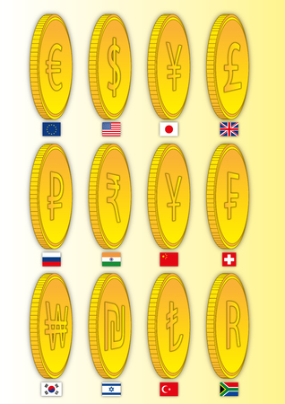 Currency symbols in the world on coins, vector illustration
