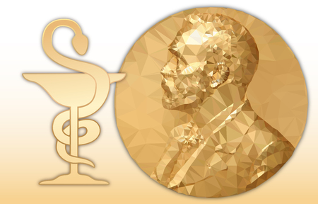 Nobel Chemistry award, gold polygonal medal and where symbol, vector illustration
