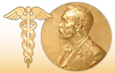 Nobel Medicine award, gold polygonal medal and where symbol, vector illustration Ilustracja