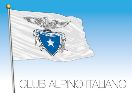 CAI, italian alpine club flag, vector illustration