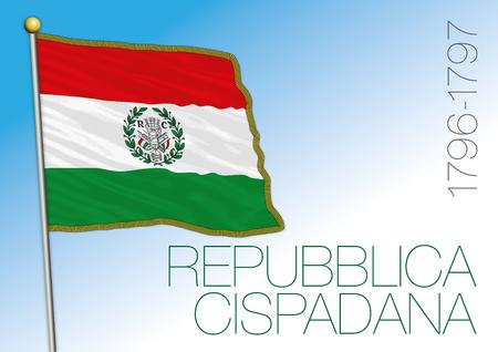 Cispadana Republic historical flag, Italy, vector illustration